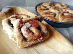 Peanut butter, bacon and caramelized bananas, tucked into a cinnamon roll and covered in a Jack Daniels glaze.
