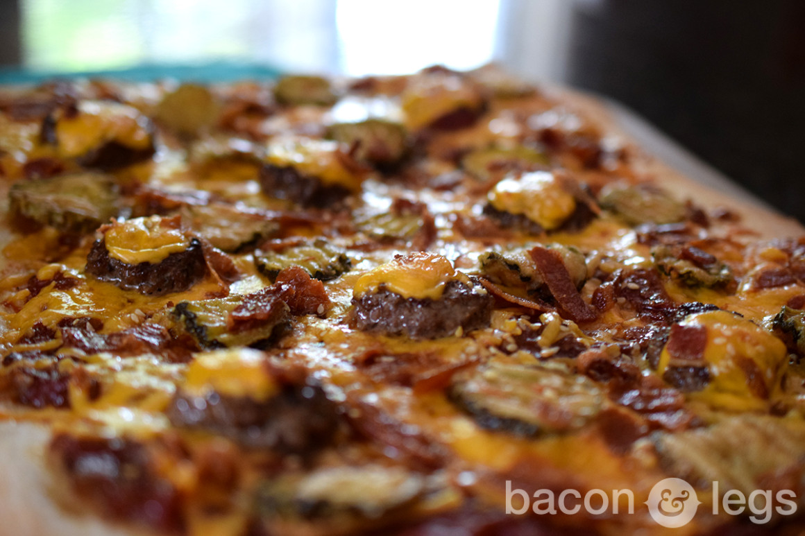 Fried PIckle Bacon Cheeseburger Pizza Thing