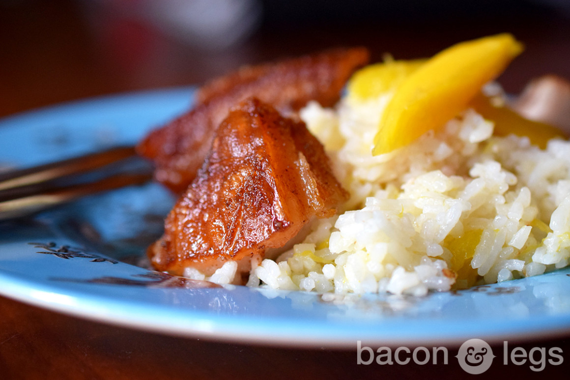 Coco-Mango Rice with Pork Belly